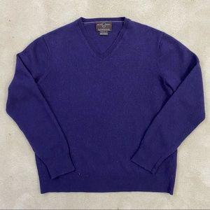 Black Brown 1826 Men's 100% ExtraFine Merino Wool Purple Sweater Sz Large